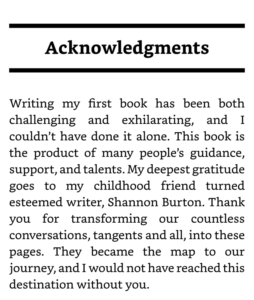 Minal Sampat's Acknowledgements Page showing that hiring a ghostwriter was the right choice